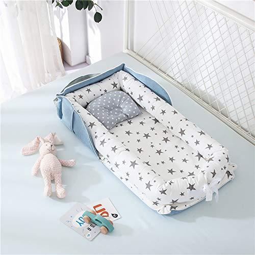 Luddy ベビーベッド 新生児 枕付き ベッドインベッド 折りたたみ式 携帯型ベビーベッド 添い寝 ポータブル 出産祝い 通気性抜群 洗濯可能 0-24ヶ月