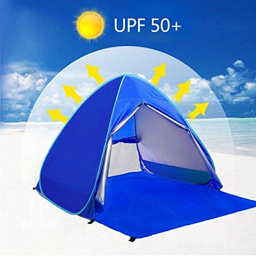 ワンタッチテント サンシェード 2-3人用 WloveTravel SPF50+日除け カーテン付き 超軽量 通気性抜群 ビーチ ブール アウトドアに最適 キャリーバッグ付き(ブルー)