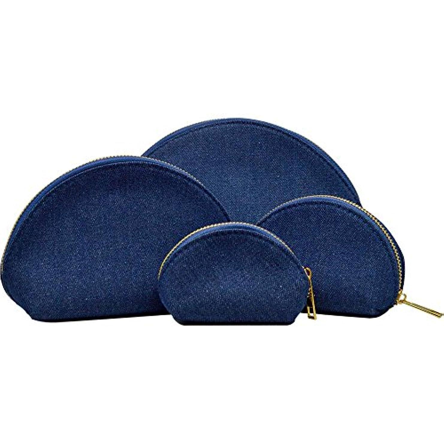 オーブン自治ピッチ豪華4点セット デニム コスメポーチ 小物ポーチ 小さい 極小 大きい 4サイズ デニムデザイン バッグINバッグ ラウンド 化粧ポーチ (インディゴブルー)