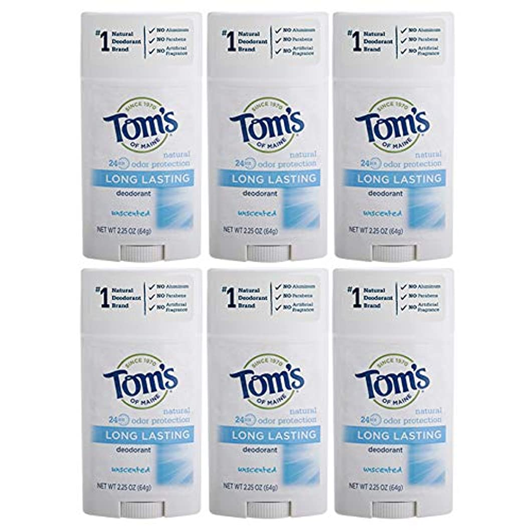 商標引っ張る道徳Tom's of Maine Natural Deodorant Stick, Unscented, 2.25-Ounce Stick (Pack of 6) by Tom's of Maine [並行輸入品]