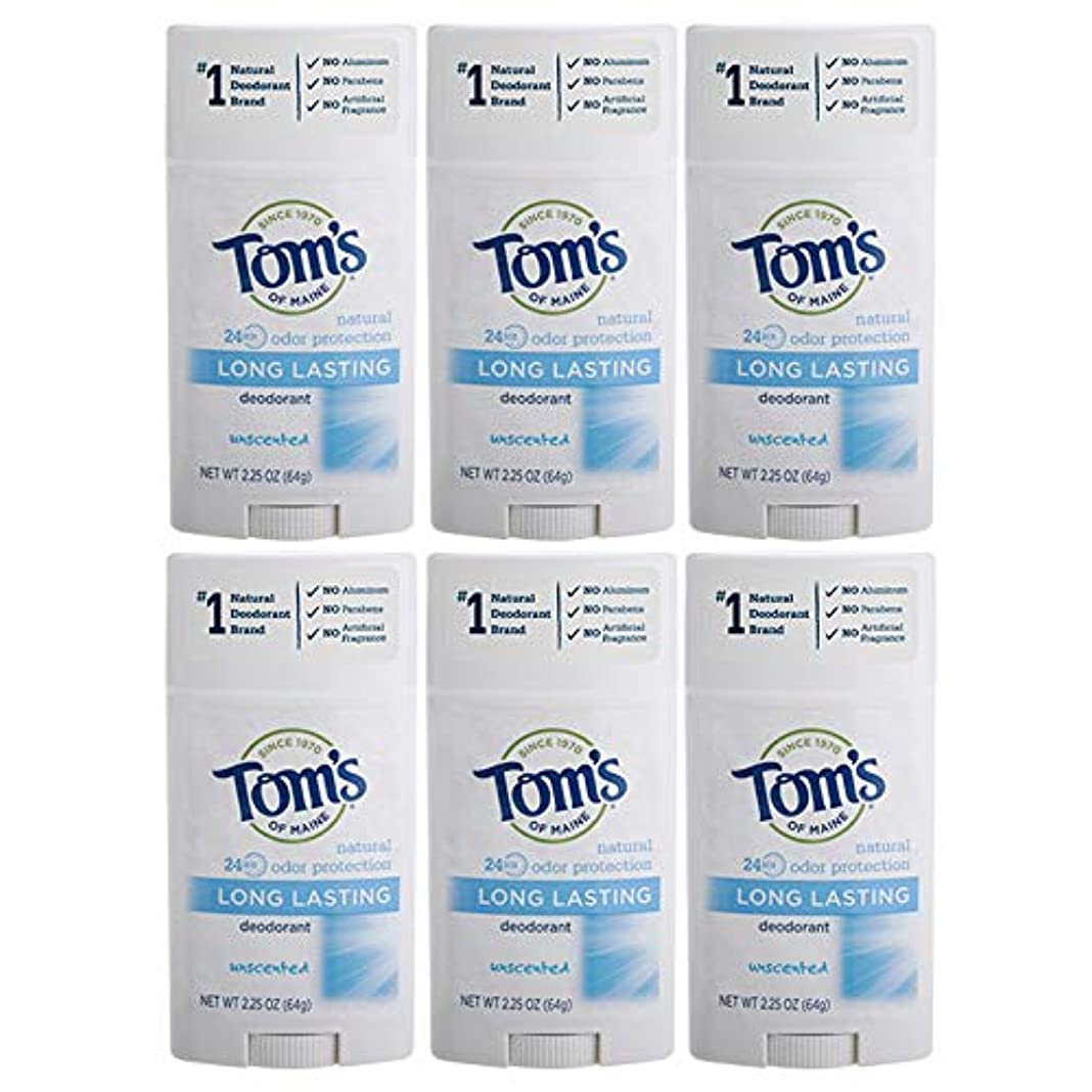 ドレスピラミッド味Tom's of Maine Natural Deodorant Stick, Unscented, 2.25-Ounce Stick (Pack of 6) by Tom's of Maine [並行輸入品]