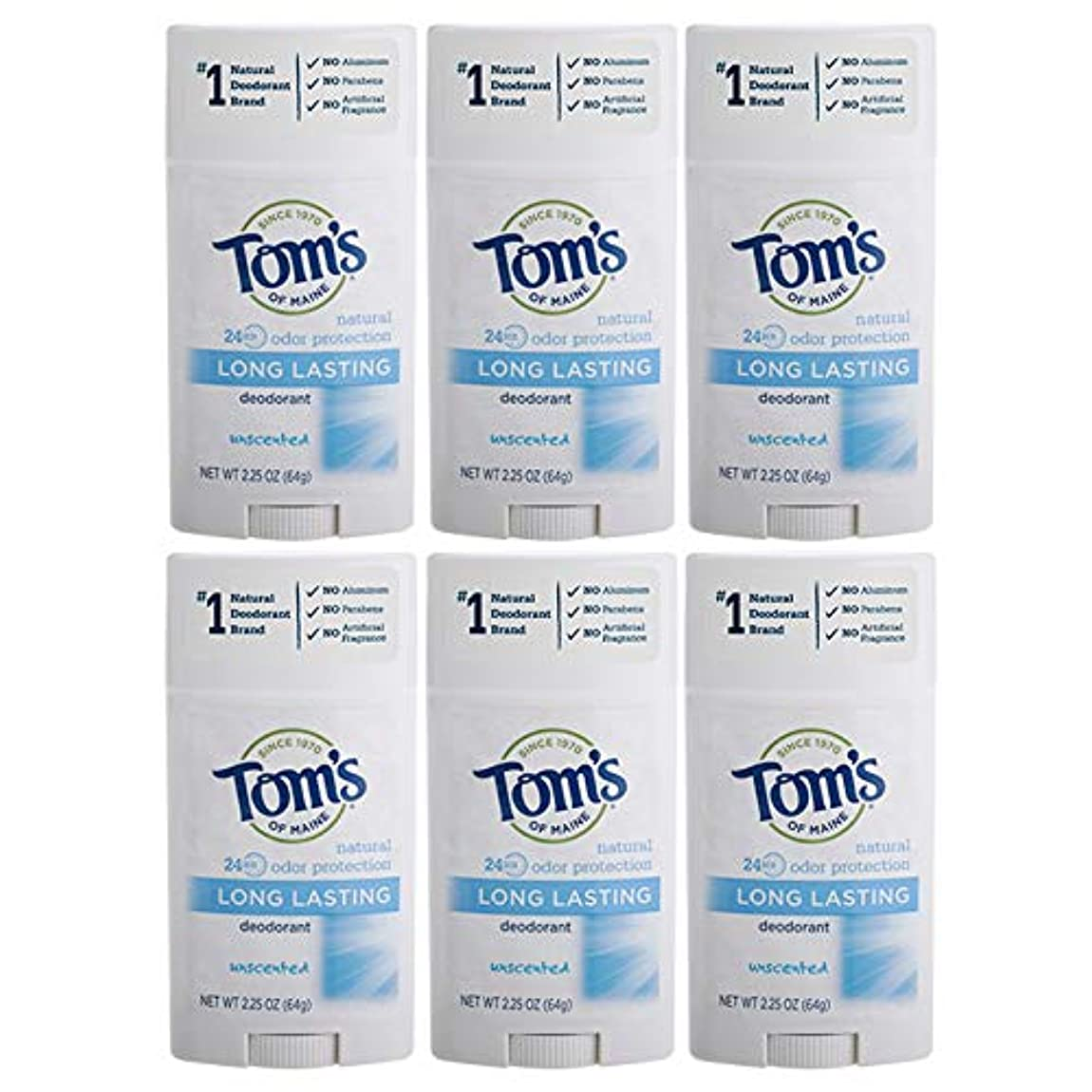 吹雪岩群がるTom's of Maine Natural Deodorant Stick, Unscented, 2.25-Ounce Stick (Pack of 6) by Tom's of Maine [並行輸入品]