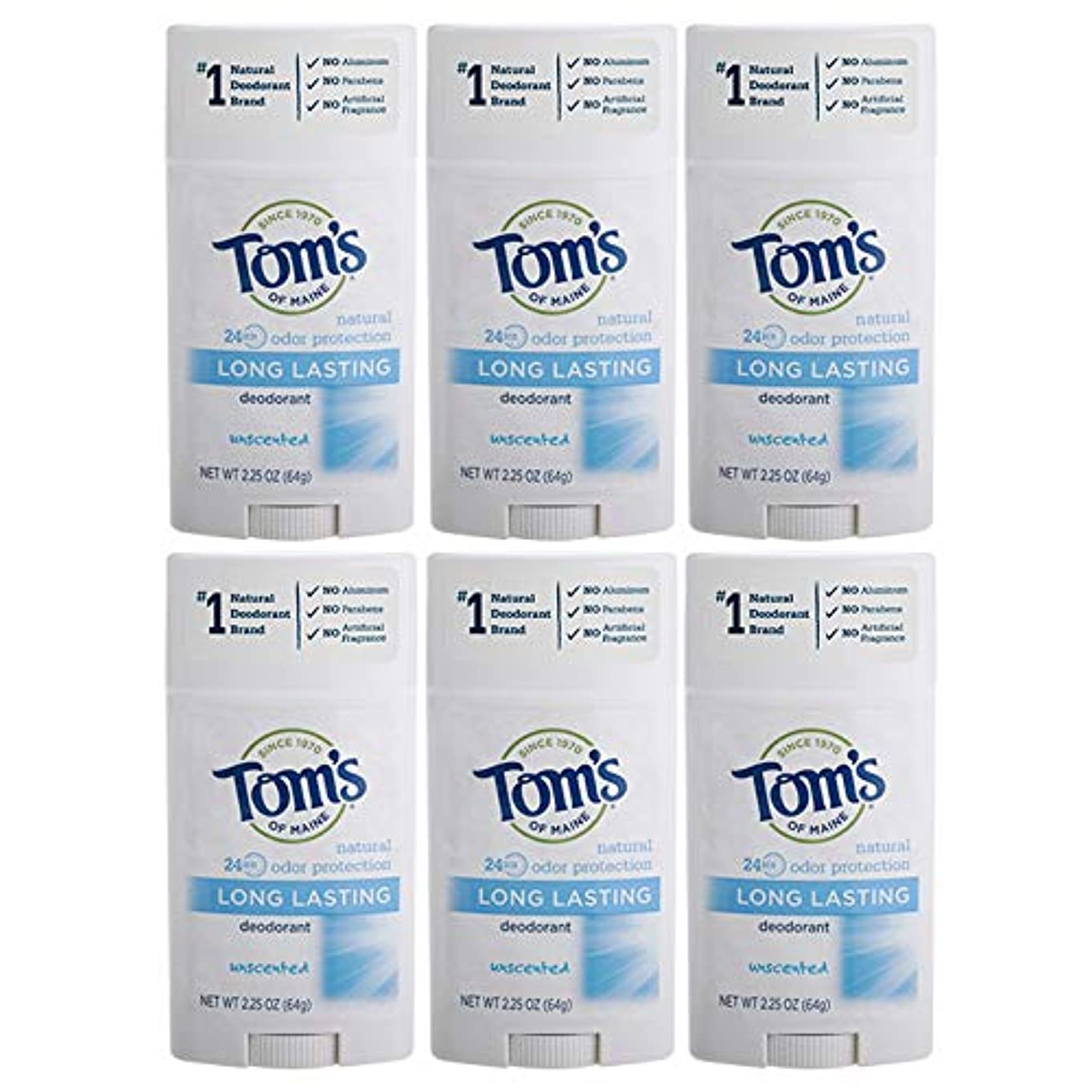 コンパイル地元でTom's of Maine Natural Deodorant Stick, Unscented, 2.25-Ounce Stick (Pack of 6) by Tom's of Maine [並行輸入品]
