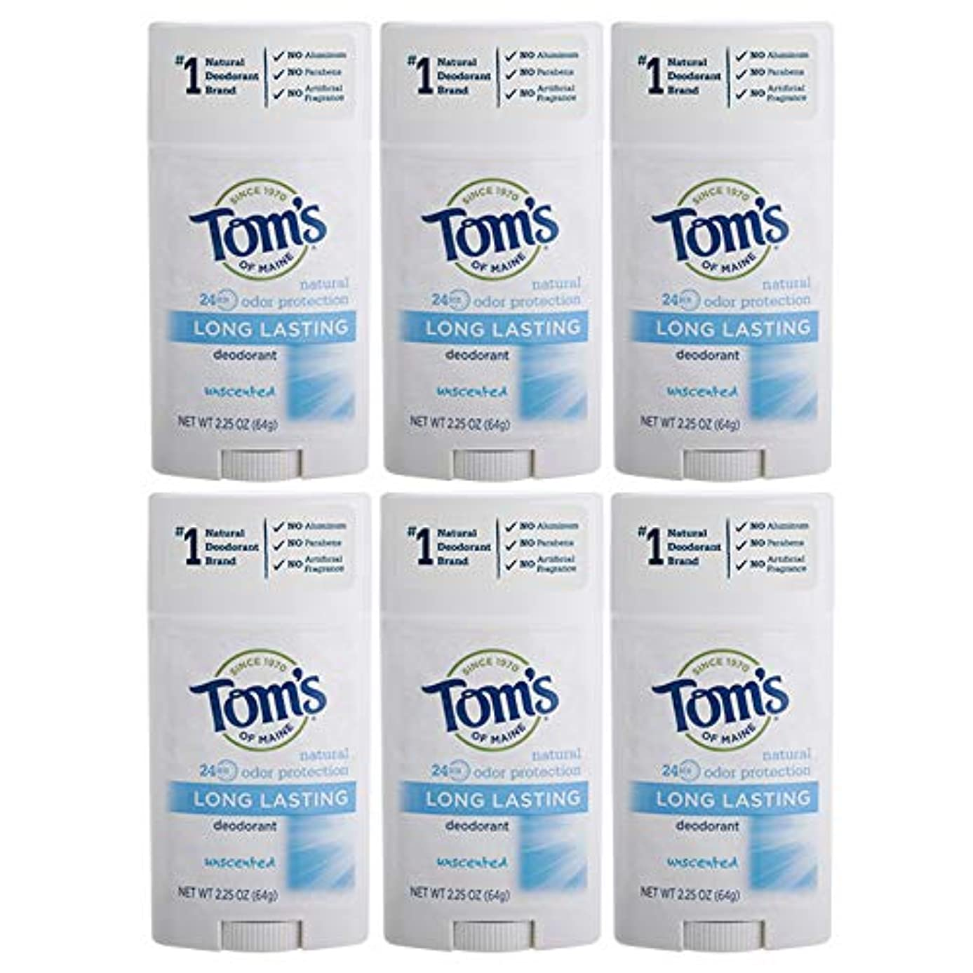 部分的で出来ているメッセンジャーTom's of Maine Natural Deodorant Stick, Unscented, 2.25-Ounce Stick (Pack of 6) by Tom's of Maine [並行輸入品]