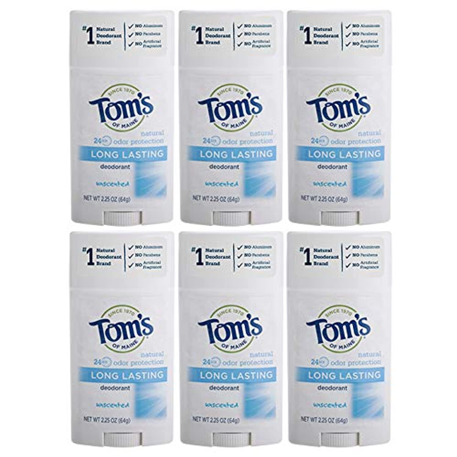 滑りやすいメトロポリタン獲物Tom's of Maine Natural Deodorant Stick, Unscented, 2.25-Ounce Stick (Pack of 6) by Tom's of Maine [並行輸入品]