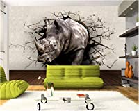 Weaeo 写真の壁紙Rhinoceros Wall Hole動物壁の入り口Bedroom Living Roomテレビ壁の壁紙3D-150X120Cm