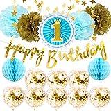 1歳誕生日飾り ブルーゴールド 男の子 HAPPY BIRTHDAY バナー ガーランド ペーパーファン ハニカムボール ポンポンフラワー 紙吹雪入れバルーン 100日 半歳 1歳誕生日パーティー飾り イベント装飾