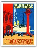 地中海とオリエント - 海運会社ビクターSchuppe - ツインスクリュースチーマーペール・ギュント上の地中海とオリエントクルーズ - ビンテージな遠洋定期船のポスター によって作成された ルドルフ・リュファー c.1925 - アートポスター - 51cm x 66cm