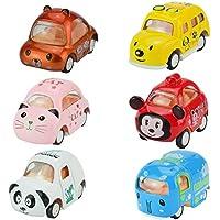 jellydogおもちゃPull Back Cars、6パックAssorted Mini Pull Back Cars、合金ダイキャストVehicles Playset、カートン動物MiniトラックToy, Pull Back and Go car toy play set for kids、幼児用パーティーFavors