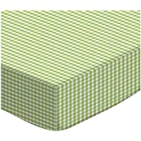 SheetWorld PC-GNG PC-GNG Fitted Portable / Mini Crib Sheet - Sage Gingham Jersey Knit - Made In USA by sheetworld
