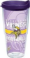 Tervis NFL Minnesota Vikings Gridiron Wrap Tumbler with Royal Purple Travel Lid, 710ml, Clear