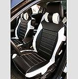 (ファーストクラス)FirstClass 上品 汎用 フロント リア カーシートカバー 運転席 助手席シートクッション ブラック/ホワイト 8pcs 12-14 A4 Q5 X3 X5 クルーズ フォーカス用 通用