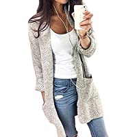 Women's Knit Cardigan Sweater Long Sleeve Open Front Cardigans LooseSweater with Pockets