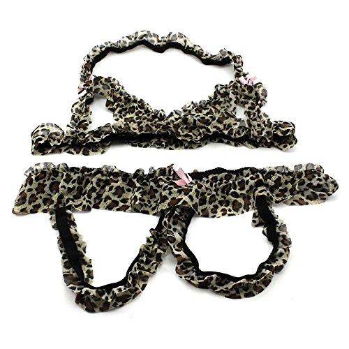 女性豹柄のセクシーランジェリー 2pcsのセット Leopardの誘惑ブラ+オープンクロッチパンツ 下着スーツ