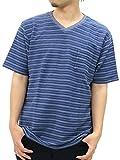 [ノータベネ] Tシャツ メンズ 大きいサイズ 半袖 ボーダー ポケット付き Vネック