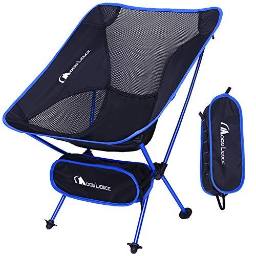 Moon Lence アウトドア チェア キャンプ 椅子 折りたたみ アルミ合金&オックスフォード コンパクト 超軽量 収納バッグ ハイキング 耐荷重150kg (ダークブルー)