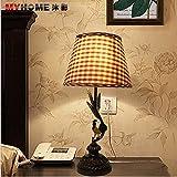 装飾的なランプシェードコックチェック柄リビングルームの寝室の研究ベッドサイドランプの子供のルームランプMYC106