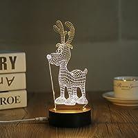 3d LEDナイトライトデスクテーブルランプクリスマス装飾クリスマス鹿( crmdr-b )