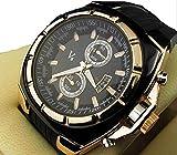 V6 3 色 クロノ グラフ タイプ メンズ 腕 時計 カジュアル ビジネス ウォッチ アナログ (ゴールド)