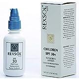 REXSOL子供SPF 30 +日焼け止めUVA/UVB保護防水  ビタミンA、C、Eおよび天然植物抽出物を豊富に含む  保湿剤と抗酸化剤。 (60ml / 2フロート)