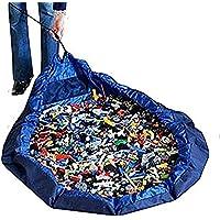 19blue(ナインティーンブルー) お片づけ おもちゃ 収納袋 防水 マット 150cm (青)