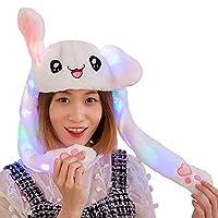 LEDタイプ ウサギの耳が動く帽子 光る ウサギの帽子 LED付き TIK TOK人気 白うさぎ帽子 うさ耳ダンス コスプレ 仮装 パーティー 誕生日 プレゼント 耳 動く 帽子 光る 男女兼用 (White Rabbit-Glowing)