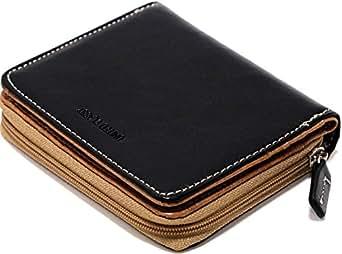 (マルカワジーンズパワージーンズバリュー) Marukawa JEANS POWER JEANS VALUE 財布 メンズ 二つ折り 本革 牛革 ラウンドファスナー ステッチ 2color Free ブラック