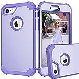 iPhone 8ケース, pSRAt Iphone 8カバー耐衝撃ハイブリッド全面保護、3in1ハードPC +シリコン傷Resistant High Impact Defender保護ケースfor Apple iPhone 8( 2017) LD iPhone 8 2D PM Purple+Purple