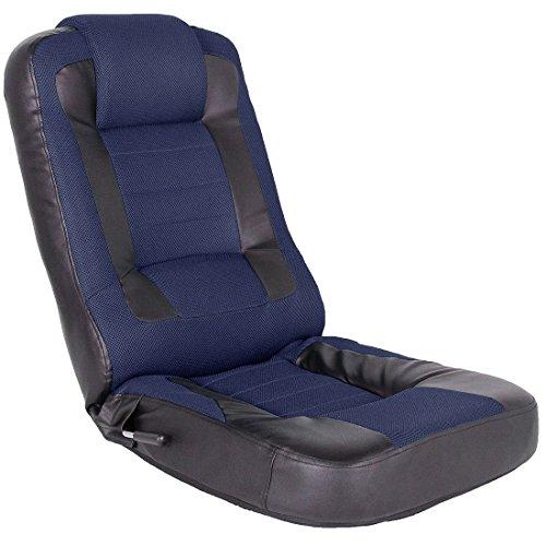 タンスのゲン CYBER-GROUND レーシング 座椅子 メッシュ レバー式 14段階 リクライニング パーソナルチェア ゲーミングチェア ネイビー 15110004 NV 【49158】