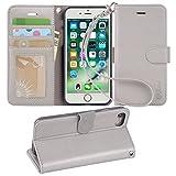 【Arae】 iPhone 7 ケース / iPhone 8 ケース 手帳型「 スタンド機能 カードポッケト ストラップ」人気 おしゃれ 落下防止 衝撃吸収 財布型 おすすめ アイフォン 7 / アイフォン 8 用 ケース カバー (グレー)