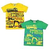 (イエロー/80cm)ベビー服 男の子 Tシャツ KIDBOW キッドバウ 半袖 働く車プリント スナップボタン付 男児 ベビー