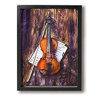 DJIANRONG バイオリン 油絵 装飾絵画 アートフレーム インテリア絵画 装飾 額縁 フレーム付き 釘付き アート ポスター ウォールアート (40X30cm)