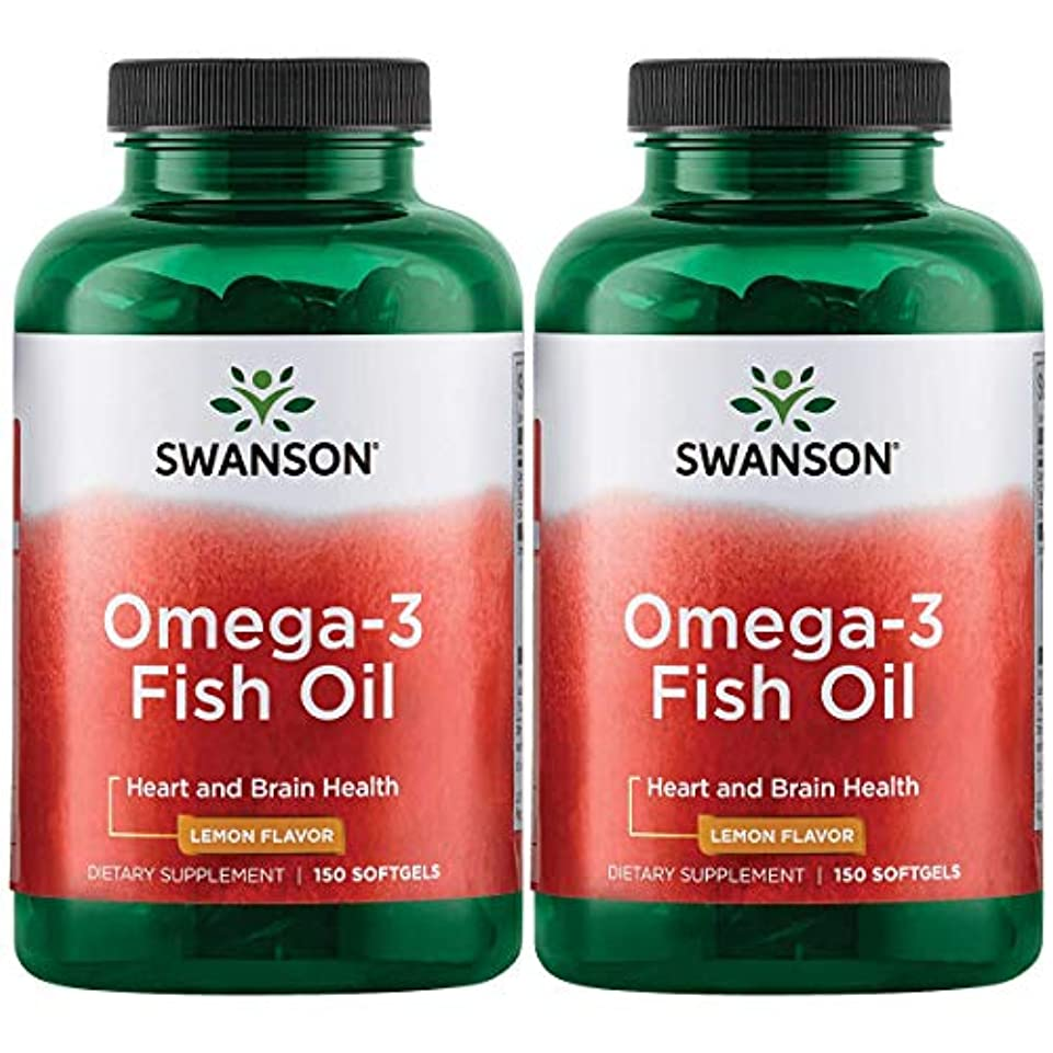 実験をする名門ボックスSwanson Omega 3 Fish Oil EPA + DHA Lemon Flavor 150粒×2個