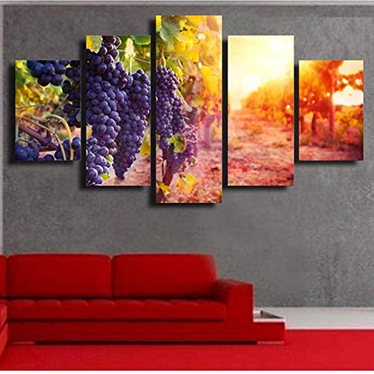 なだめるウガンダ道路を作るプロセスBZM-ZM ポーチ壁画を描くぶら下げ5つの紫色のブドウの壁絵研究を描くデジタル装飾画クラフト(20 * 35 * 2 20 * 45 * 2 20 * 55 * 1つの内部フレーム塗装)ビューティフル