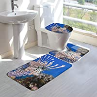 Britnears海 新品フロアマット 3点セット,浴室足ふきマット + U型フロアマット + O型トイレの便器蓋カバー 北欧装飾 吸水速乾 滑り止めパッド 部屋のドアマット 人気アニメ周辺 絵柄 通用 50*80cm
