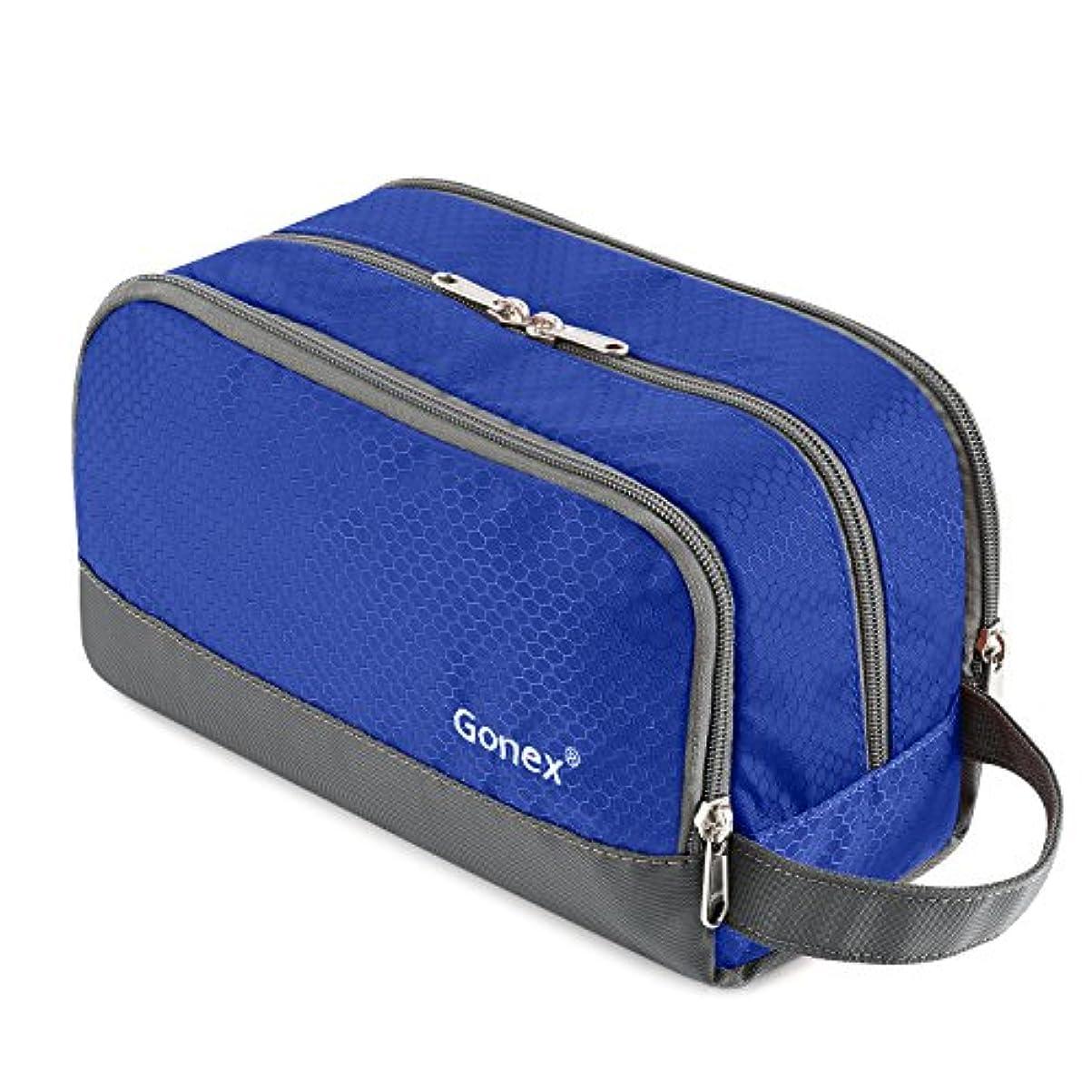 ドレイン叫ぶなぞらえるGonex トイレタリーバッグ 三層構造 化粧ポーチ 防水 トラベルポーチ バッグインバッグ 洗面具入れ 旅行/出張 (ブルー)