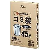 スマートバリュー ゴミ袋 LDD 透明 45L 100枚 N044J-45