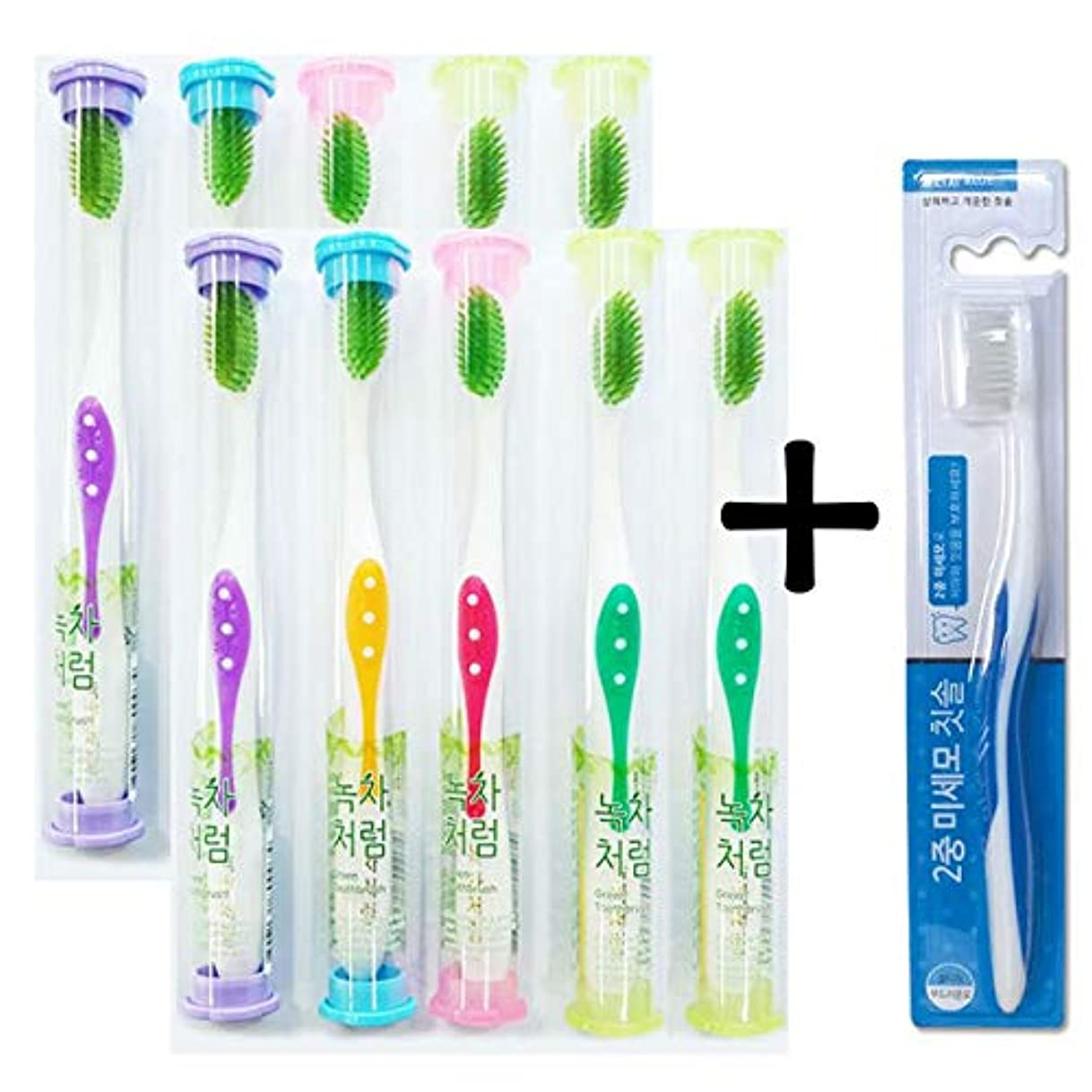 キャッシュ鯨ランドマークKorea Green Toothbrush 10+1 Special Set Lovely individual case Random color 緑茶の歯ブラシ10本,ランデン発送+クルターチ2重微細胞歯ブラシ1本
