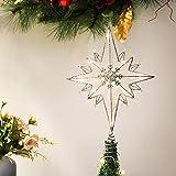 Valery Madelyn LED クリスマスツリー トップ スター シルバー 純潔 十字星 装飾 エレガント クリスマス飾り クリスマスツリー オーナメント 飾り 線1m 高さ 30.5cm