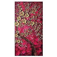 100%手描きのアートワークキャンバスにカラフルで抽象的な花の咲く木の油絵 - サイズカスタマイズ可能 (色 : 紫の, サイズ さいず : 40x80cm)