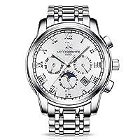 RORIOSラグジュアリービジネスマン自動機械式時計ステンレスバンドデイカレンダーウィークローマ数字透明ダイヤル防水多機能腕時計
