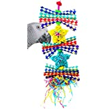 Bonka Bird Toys 1586 Duo Foraging Star Shred Bird Toy Parrot cage Toys Cockatiel African Grey. Quality Product Hand Made in The USA.