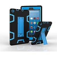Hansin 耐衝撃ケース for All-New Amazon Fire HD 8 Tablet (第7世代、2017年リリース), [キックスタンド]耐衝撃性に優れた頑丈なハイブリッド衝撃防護鎧防御機フルボディ保護用シリコンカバー (ブラック/青)
