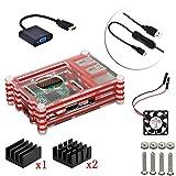 5in1 アップデート アクリル for Raspberry Pi Model B+ and for Raspberry Pi 2/3 Model B 専用ケース+ファン+ スイッチ付きケーブル+クーラー2個+HDMI to VGA ケーブル (Red/赤)