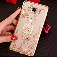 Huawei Mate8 Diamond Ring Movie Stand Case, Shiny Perfume Bottle 360° Rotating Kickstand Clear Garden Flower Soft TPU Cover, TAITOU Plating Bumper Phone Case For Huawei Mate 8 Gold
