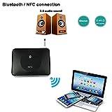 ESUMIC NFC デスクトップ ワイヤレス Bluetooth オーディオ ミュージック レシーバー アダプター  家庭用ステレオサウンドシステム、 携帯電話、 タブレット専用 ブラック