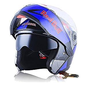X.N.S(希望)新出荷(6色可選) LV-701 バイクヘルメット フルフェイスヘルメット システムヘルメット モンスターエナジー ダブルシールド ジェット ヘルメット (XXL, RedBull(艶有り))
