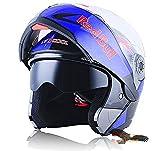 X.N.S(希望)新出荷(6色可選) LV-701 バイクヘルメット フルフェイスヘルメット システムヘルメット モンスターエナジー ダブルシールド ジェット ヘルメット (M, RedBull(艶有り))