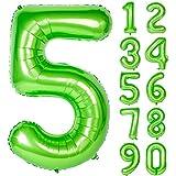 Angel&tribe 番号 0-9 誕生日 パーティー 装飾 ヘリウム 箔 マイラー 大きい 番号 バルーン 40インチ グリーン 番号5