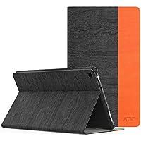 NEW-Fire HD 8 ケース - ATiC Fire HD 8 タブレット (Newモデル) 2017/第七世代 /Fire HD 8 2016 第六世代用 PCバック 開閉式薄型スタンドケース Dark Gray+Orange